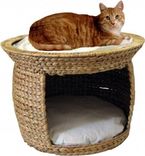 panier pour chat jacinthe d 39 eau avec coussin beige. Black Bedroom Furniture Sets. Home Design Ideas