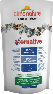 Almo Nature ALTERNATIVE DRY chat 100% Viande Fraîche - CAILLE & RIZ
