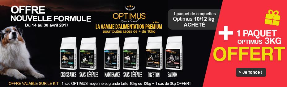 Optimus : 1 paquet de 12kg + 3kg OFFERT !