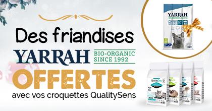 Des friandises YARRAH Offertes avec vos croquettes Quality Sens