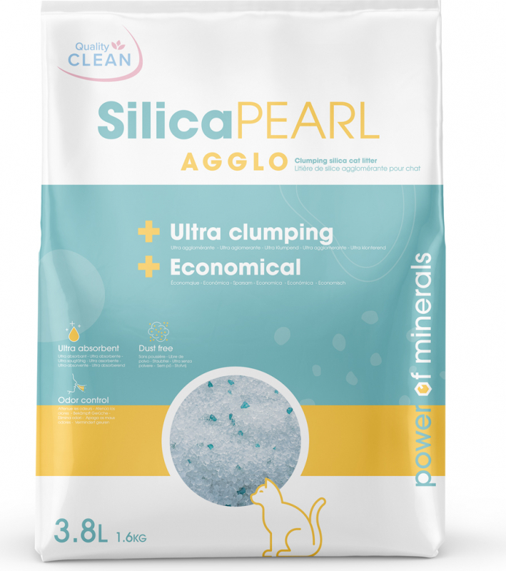 Litière silice agglomérante pour chat Silica Pearl Agglo Quality Clean
