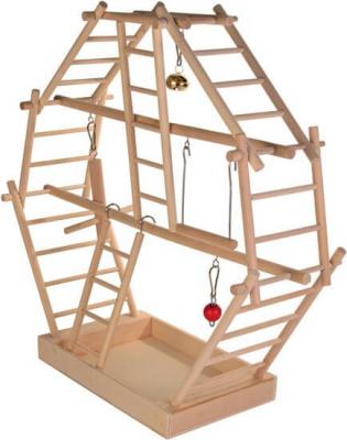 Base de jeu en bois avec échelles et balançoire