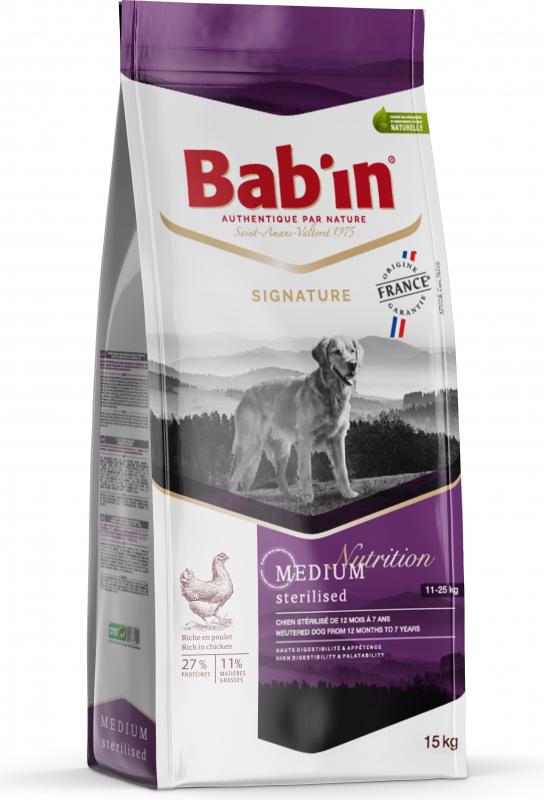 BAB'IN Signature Medium Sterilised au poulet pour chien stérilisé de taille moyenne