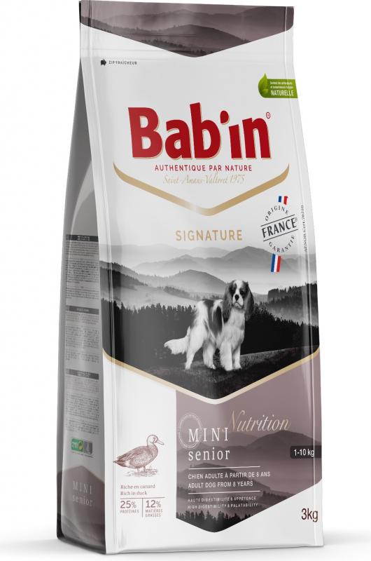 BAB'IN Signature Mini Senior au canard pour chien senior de petite taille