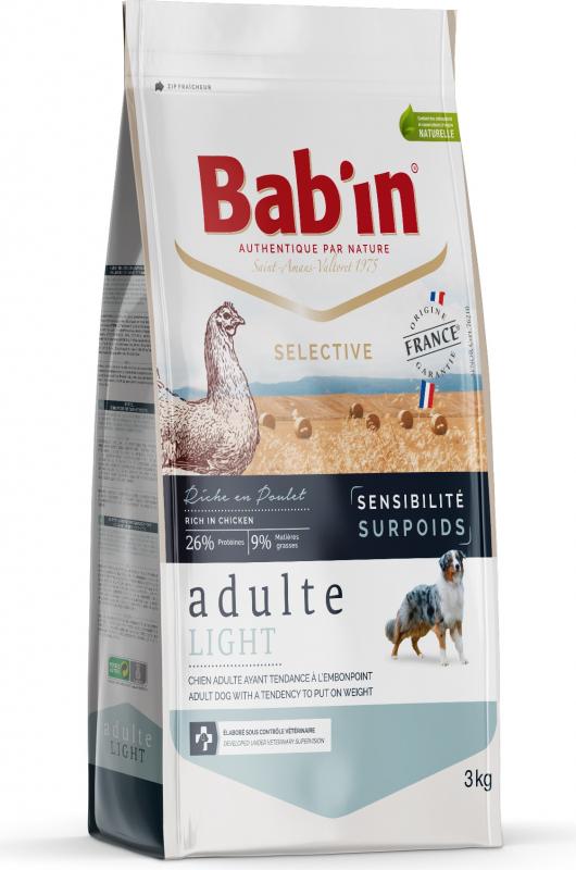 BAB'IN Selective adulte Light Sensitive au poulet pour chien en surpoids