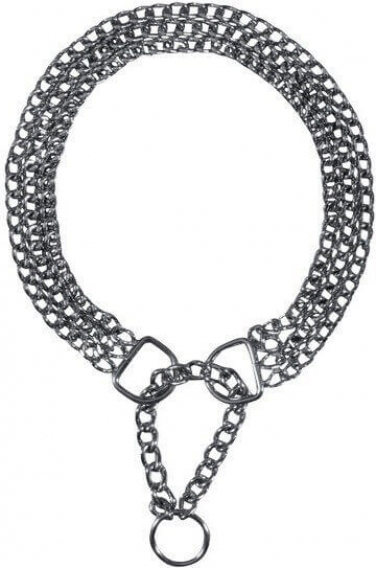 Collier métal, 3 rangs, chromé