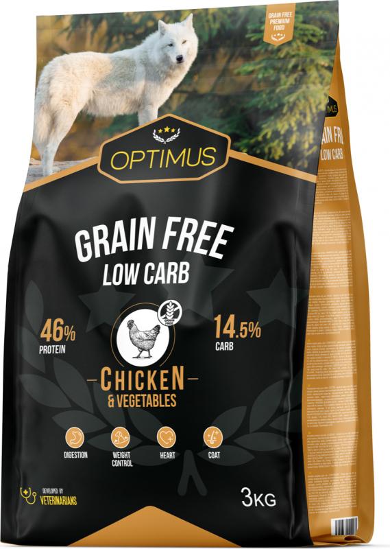 OPTIMUS Adult Grain Free Low Carb pour chien