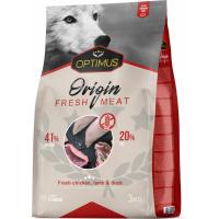 OPTIMUS Origin Fresh Meat pollo, anatra e agnello fresco per cani
