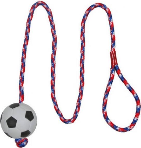 Balón de fútbol atado a una cuerda