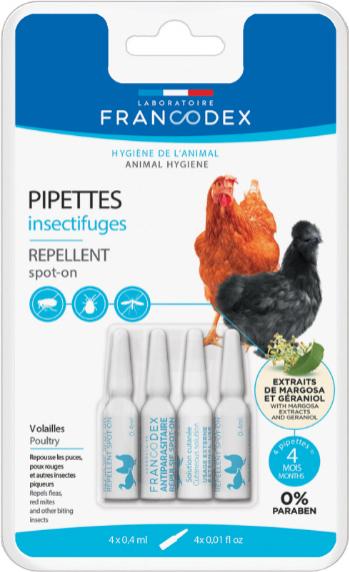 Pipetas repelentes de insectos para aves de corral x4 FRANCODEX