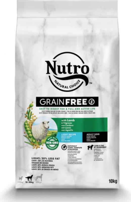 NUTRO Grain Free Light sans céréales à l'agneau pour chien adulte de moyenne et grande taille en surpoids