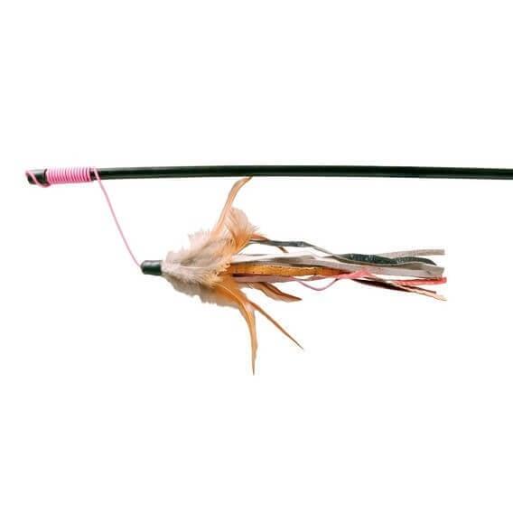 Canne à pêche avec plumes et bandes de cuir_0