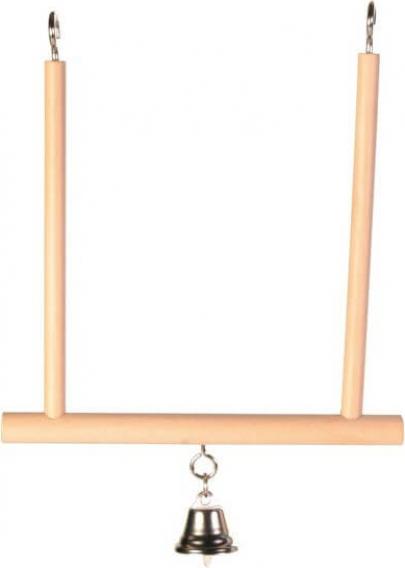 Trapèze balançoire pour oiseaux avec clochette 12 × 13 cm