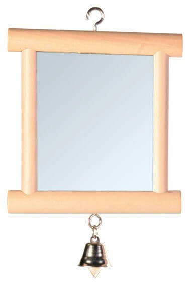 Espejo con marco de madera y cascabel