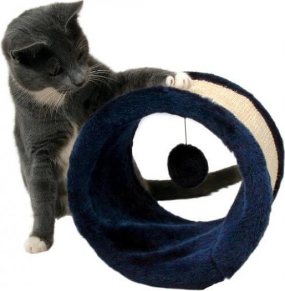 Griffoir rouleau, sisal et peluche avec jouet