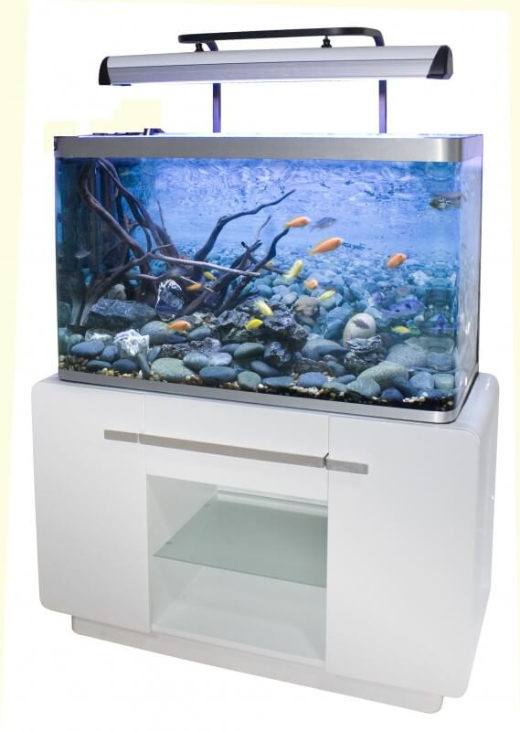 Aquarium osaka 320 310l blanc glossy white avec meuble for Meuble aquarium 120 cm