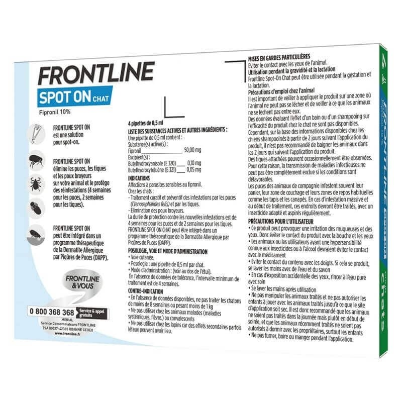 Pipeta antiparasitaria Frontline para gato Spot-On