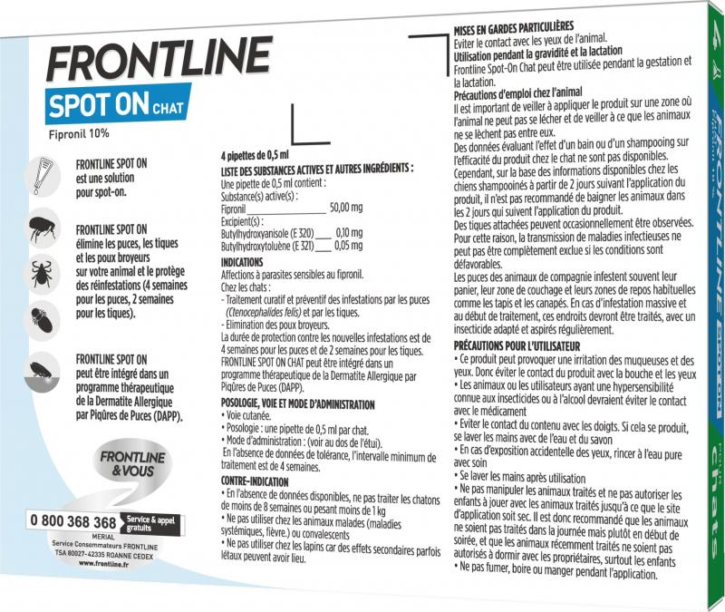 FRONTLINE Pipetas antiparasitário para gatos Spot-On
