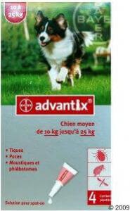 Pipette antiparasites advantix chien 10 25kg for Boitier anti aboiement exterieur