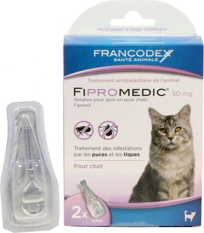 FIPROMEDIC 50mg - Lot de 2 ou 4 pipettes - anti-puces et tiques - pour chats
