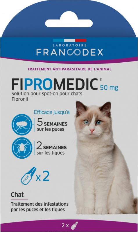 Francodex Fipromedic 50mg - Lot de 2 ou 4 pipettes - anti-puces et tiques - pour chats