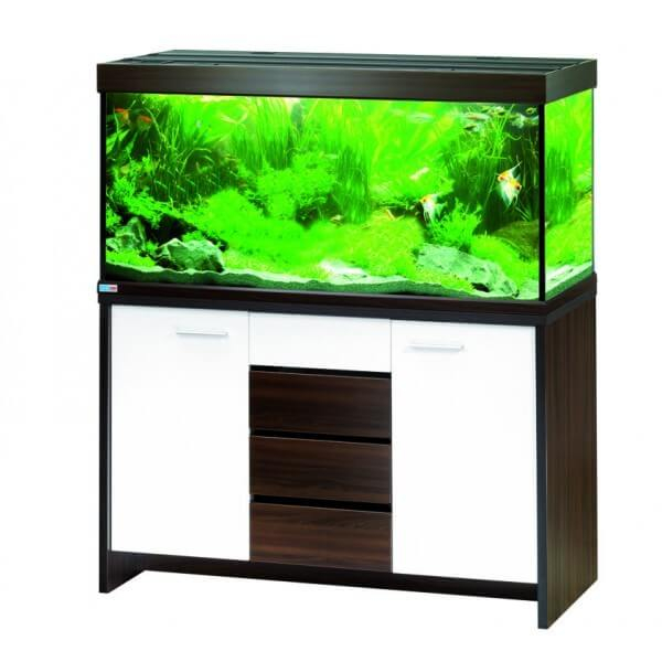 aquarium scubaline 460 noyer blanc avec clairage et. Black Bedroom Furniture Sets. Home Design Ideas