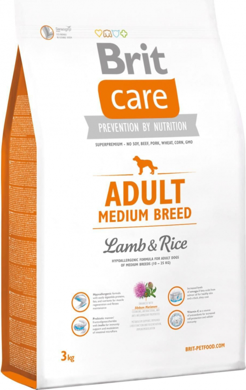 Brit Care Adult Medium Breed Agneau & Riz pour Chien Sensible
