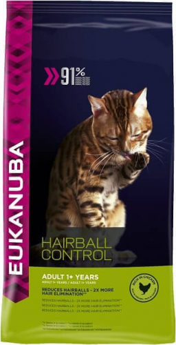 eukanuba hairball control pour chat adulte anti boules de poils croquette chat. Black Bedroom Furniture Sets. Home Design Ideas