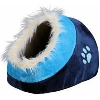 Niche douillet Minou bleu ou mauve pour chat ou petits chiens