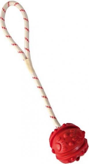 Mini balle pour chien rouge en caoutchouc naturel sur corde