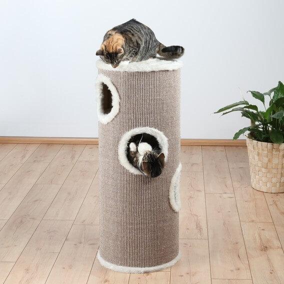 Torre rascador y árbol para gatos blanco y beige  _0