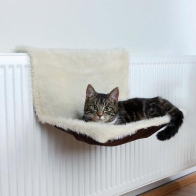 Hamac de radiateur peluche long poil/aspect suédine pour chat