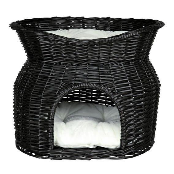 panier chat osier noir