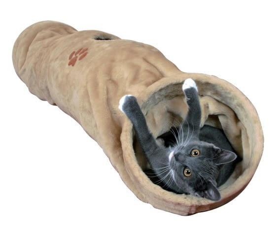 tunnel de jeu peluche beige avec ouverture 125cm jouet pour chat. Black Bedroom Furniture Sets. Home Design Ideas