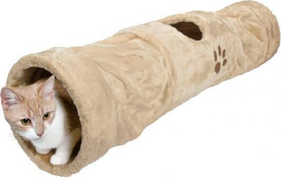 Tunnel di gioco in peluche beige con apertura 125 cm