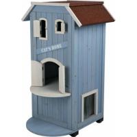 Cat's Home Maison d'extérieur pour chat - bleu clair/blanc