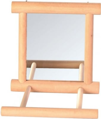 Wooden Mirror with Perch