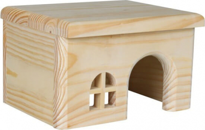 Refugio de madera con techo plano