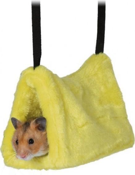 Abri peluche jaune pour hamsters