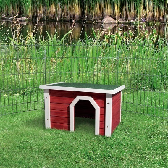 Natura abri ext rieur petits animaux rouge et blanc for Abri lapin exterieur