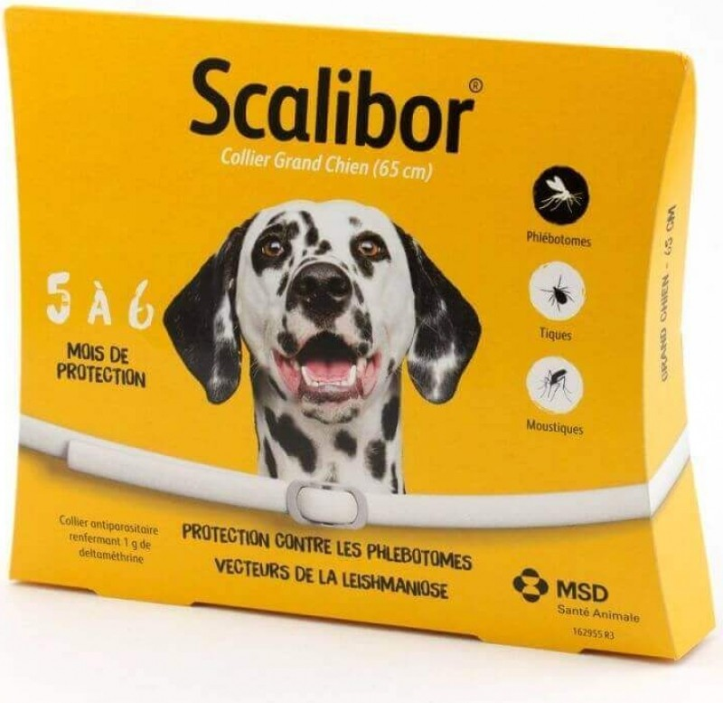 SCALIBOR Collier antiparasites pour chiens