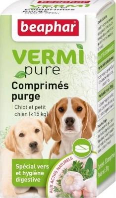 Comprimidos purgantes a base de plantas para cachorros y perros pequeños