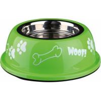 Ecuelle pour chien en acier inox avec support plastique