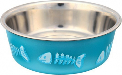 Cat bowl in stainless steel with plastic coating