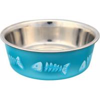 Comedero/bebedero para gato en acero inoxidable con revestimiento de plástico