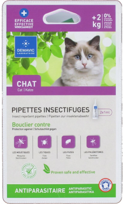 Pipette insectifuge pour chat  x 2