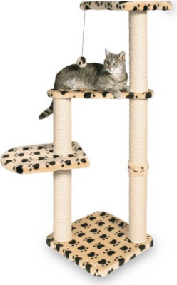 Árbol para gatos Altea color beige, con huellas de patas.