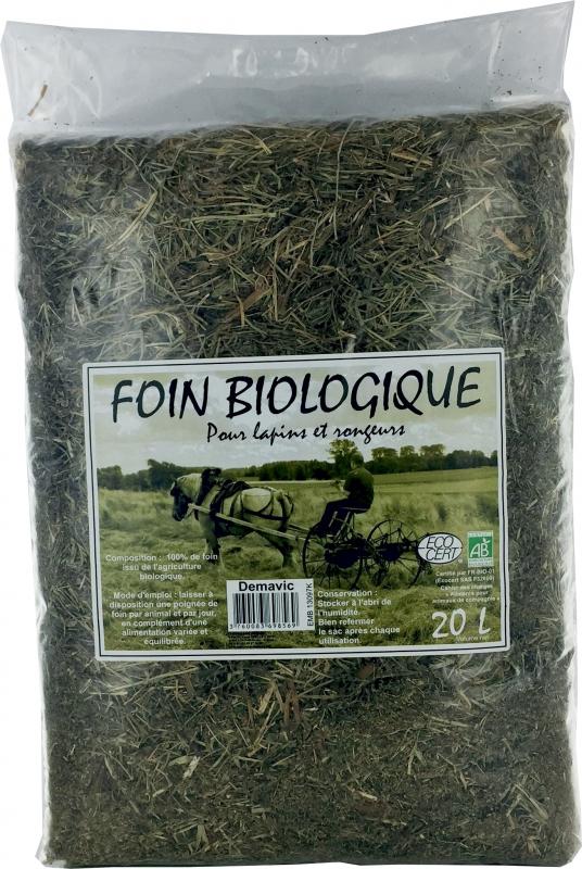 Foin Bio 100% naturel pour lapins et rongeurs - 20 L - Demavic