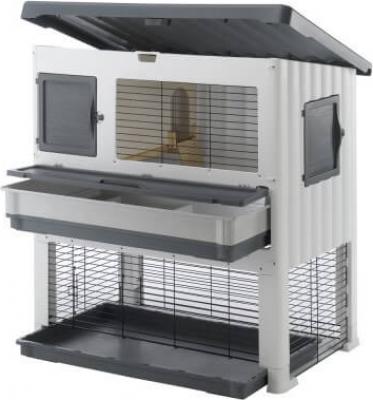clapier grand lodge plus gris blanc clapier lapin. Black Bedroom Furniture Sets. Home Design Ideas