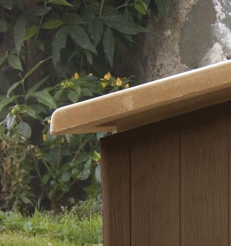 Clara caseta resina efecto madera 4 estaciones para - Caseta perro resina ...